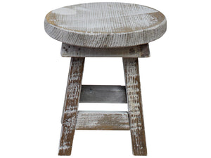 Rustic Whitewash Stool