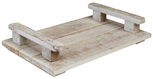 Rustic White Wooden Tray - Small