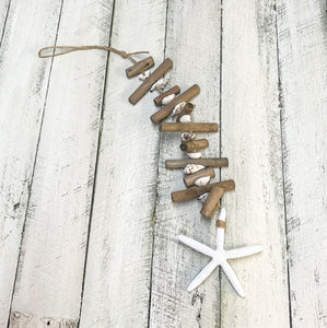 Driftwood Starfish and Shell Hanging