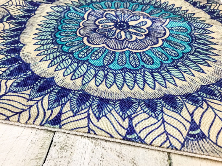 Aqua Blue Flower Mandala Pillowcase