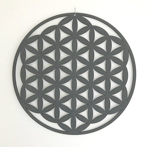 Charcoal Flower of Life Mandala Timber Hanging