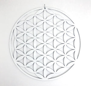 White Flower of Life Mandala Timber Hanging