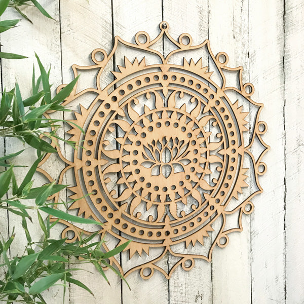 Stained Lotus Mandala Timber Hanging