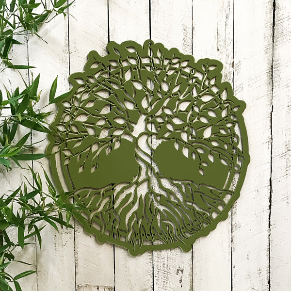Dark Olive Green Tree of Life Timber Hanging