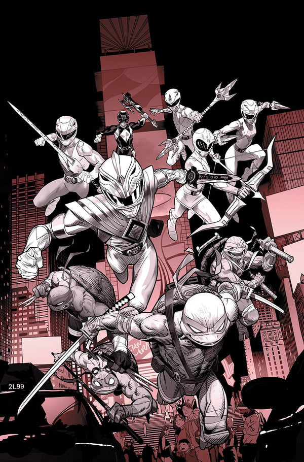POWER RANGERS TEENAGE MUTANT NINJA TURTLES #1 UNLOCK B&W ED