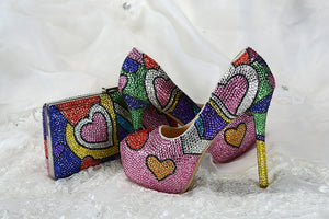 Multicolored crystal stiletto shoes with matching bags