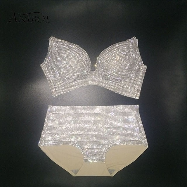 High Waisted Rhinestone Swimsuit