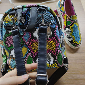 Snake Printed Shoes And Bags