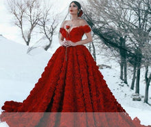 Load image into Gallery viewer, Plus size Lace Ball Gown with Cathedral Train