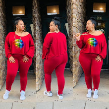 Load image into Gallery viewer, 2 Pc Plush Size Lip Drip Tracksuit Sets