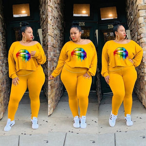 2 Pc Plush Size Lip Drip Tracksuit Sets