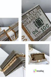 Money Stack Luxury Crystal Evening Bags