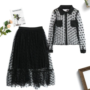 2pc  Polka Dot Skirt Set