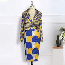 Load image into Gallery viewer, 2 Pc Printed Blazer & Pencil Skirts
