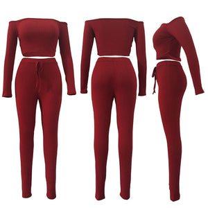 2 pc Crop Top Pants Set