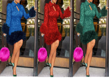 Load image into Gallery viewer, Feather Bodycon Winter Dresses