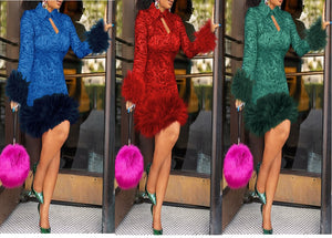 Feather Bodycon Winter Dresses