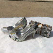 Load image into Gallery viewer, Custom Crystal Money shoe & matching bag