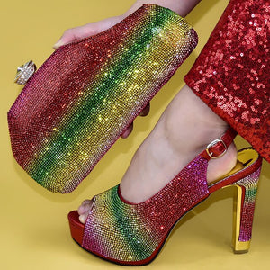 Rainbow Crystal Shoe and Matching Bag