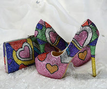 Load image into Gallery viewer, Multicolored crystal stiletto shoes with matching bags