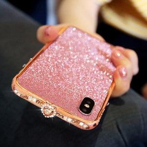 Ceramic Framed Imitation Diamond Phone Case