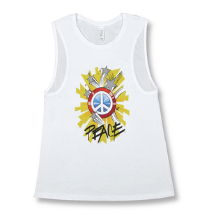 Positive Message Muscle Tank Tops for Women | 100% Cotton | Captain Peace