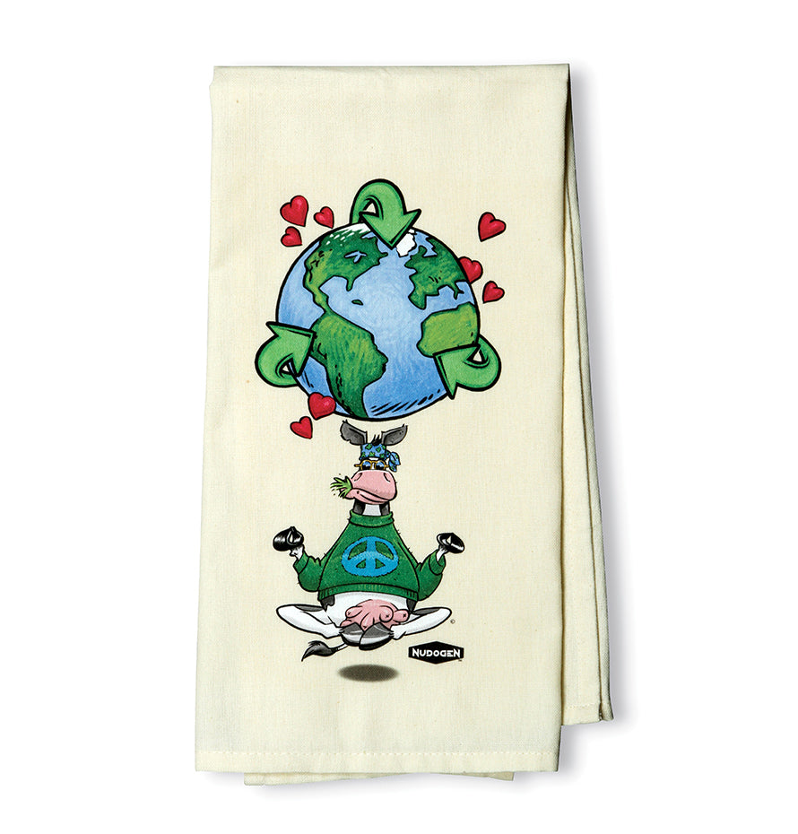 Plain Weave Dishtowel | 100 % Cotton | Namooste Yoga Cow Loves Recycling