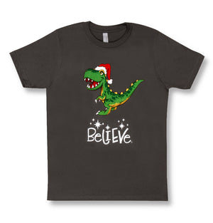 Positive Message Short Sleeve T-Shirt Child | 100% Cotton | Christmas T-Rex Believe
