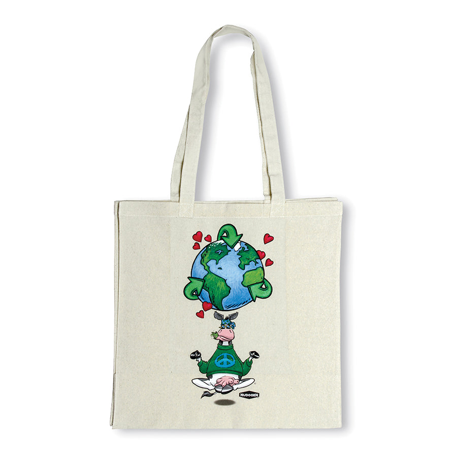 Reusable Canvas Tote Shopping Bag | 100% Canvas-Cotton | Namooste Yoga Cow Loves Recycling