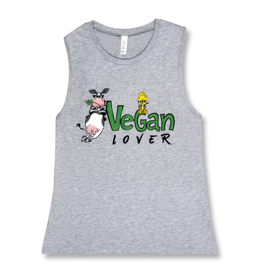 Vegan Muscle Tank Tops for Womens Workout | 100% Cotton | Vegan Lover