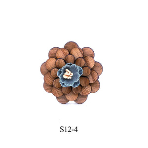 Pure Wooden Lapel Flower Brooch Pin