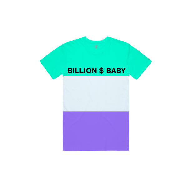 Tri-Color T-shirt - Purple Teal White