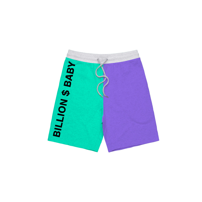 Tri-Color Shorts - Purple White Teal