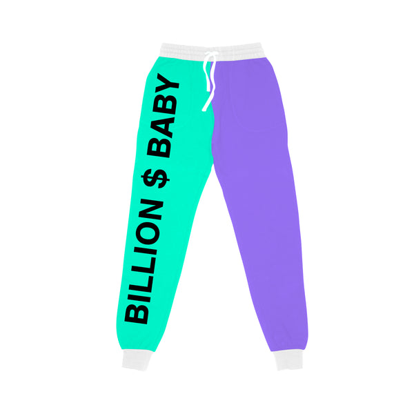 Tri-Color Joggers - Purple Teal White