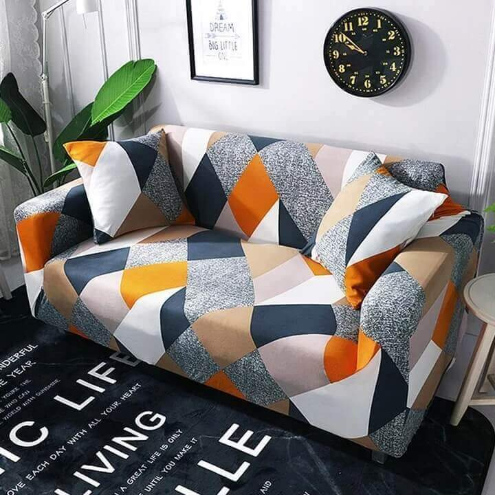 2Pcs Elastic Sofa Cover Wing Chair Slipcovers Armchair Spandex Stretchy Cover CA