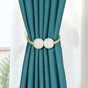 4 PCS Magnetic Curtain Tie backs Pearl Decorative Curtain Rope Holdback Holder