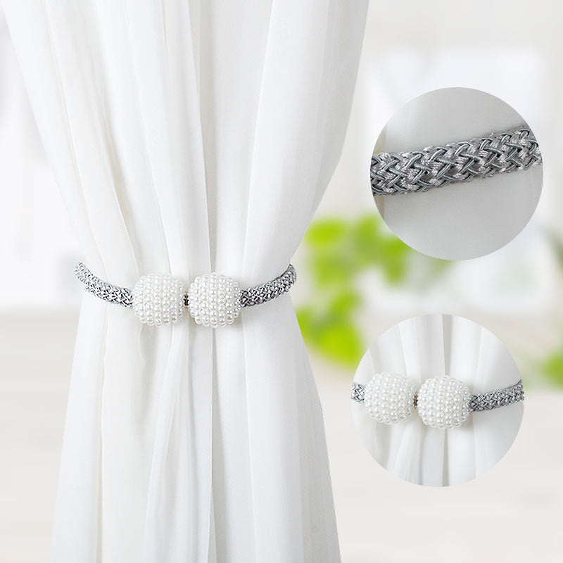 4 PCS Pearl Magnetic Curtain Tie backs