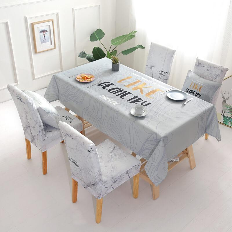 Rectangle Printed Tablecloth|Removable Washable Dinner Chair Covers And Tablecloth Sets|Stretch Removable Washable Chair Covers|Tabletop Protector for Kitchen Dining Party