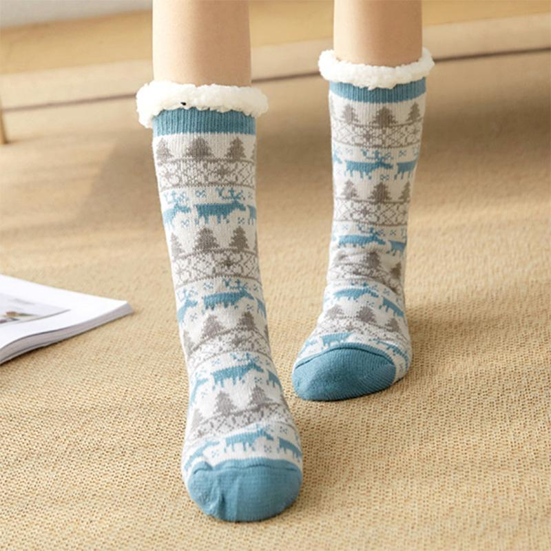 Extra-warm Fleece Indoor Socks,Womens Winter Socks,Cozy Fuzzy Fleece-lined Christmas Gift With Grippers Slipper Socks