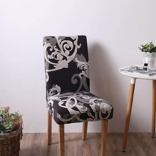 Stretch Removable Washable Soft Spandex Stretch Dining Chair Covers,Printed Chair Slipcovers Banquet Chair Seat Protector Slipcover for Kitchen Home Hotel