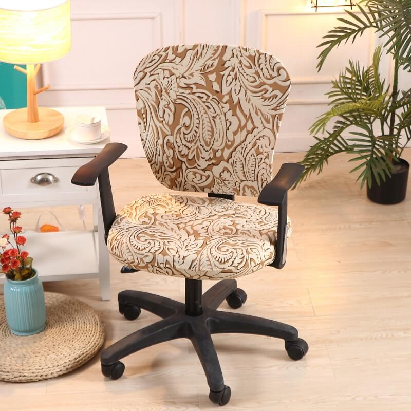 Removable Washable Office Chair Cover-Universal Miracle Magic Easy Fit Stretchable Elastic Decorative Office Chair Cover