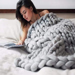 Soft Chunky Knit Blanket Handmade Cozy Knitted Blanket for Home Bedroom Sofa  Decor