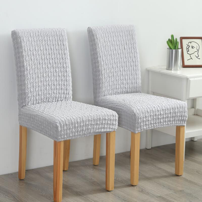 Universal Stretch  Magic Fit Miracle Dining Chair Cover |Solid Colored Jacquard Polyester Slipcovers