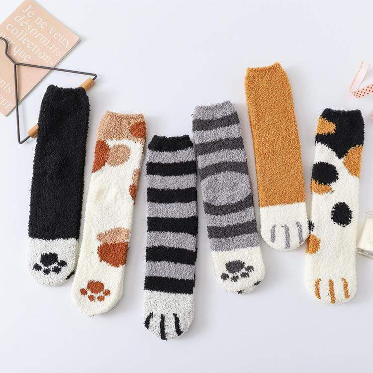 Winter Cat Claws Cute Thick Warm Fuzzy Floor Indoor Socks