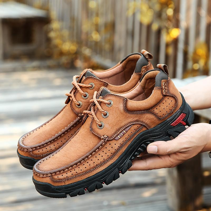 Men's Hiking Boots |Breathable Hiking leather Shoes With Supportive Soles |Slip-on Casual Shoes For Men