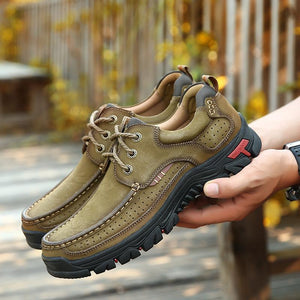 Men's Breathable Hiking leather Shoes With Supportive Sole