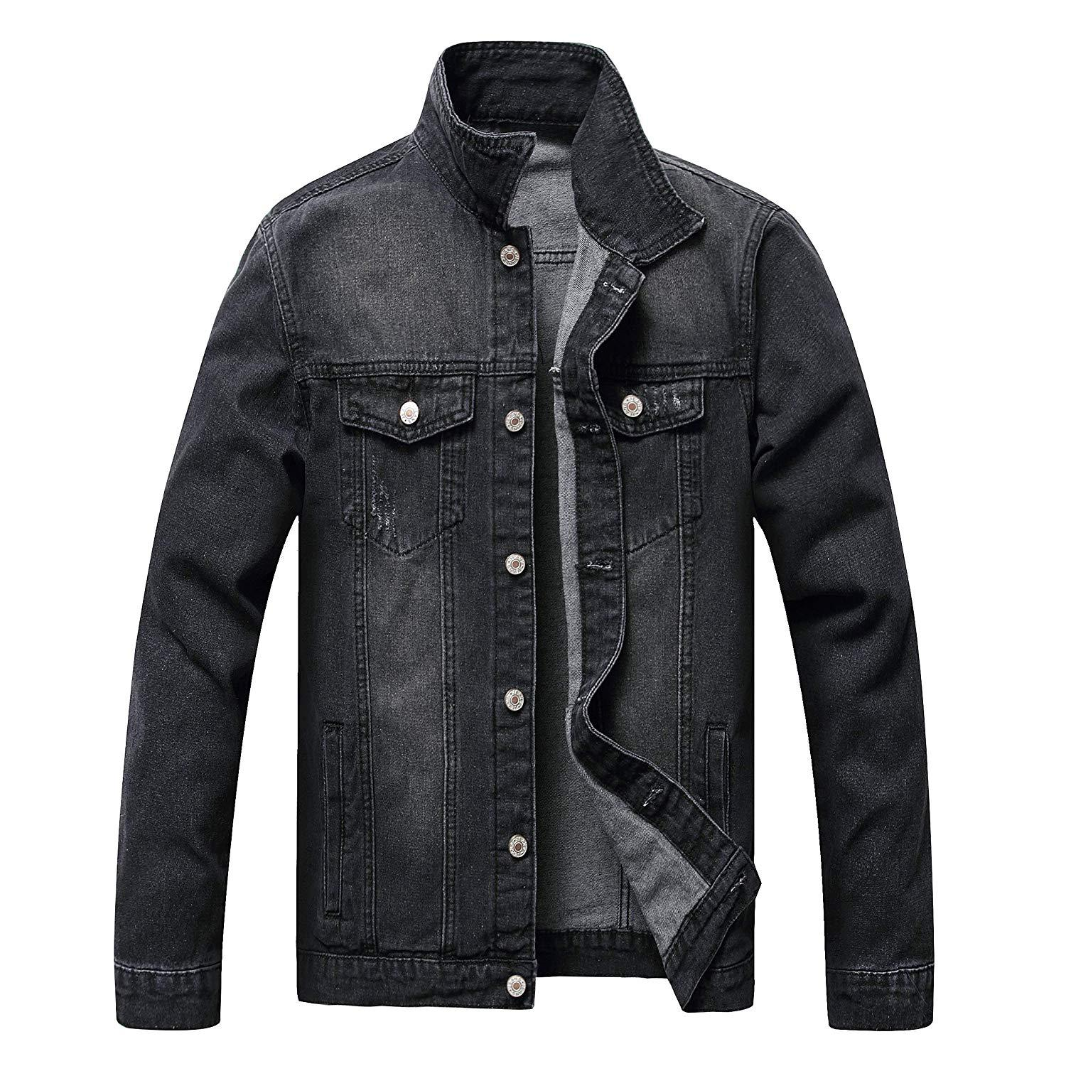 Mens Denim Jacket,Classic Ripped Slim Mens Denim Jacket with Holes,Mens Jean Jacket