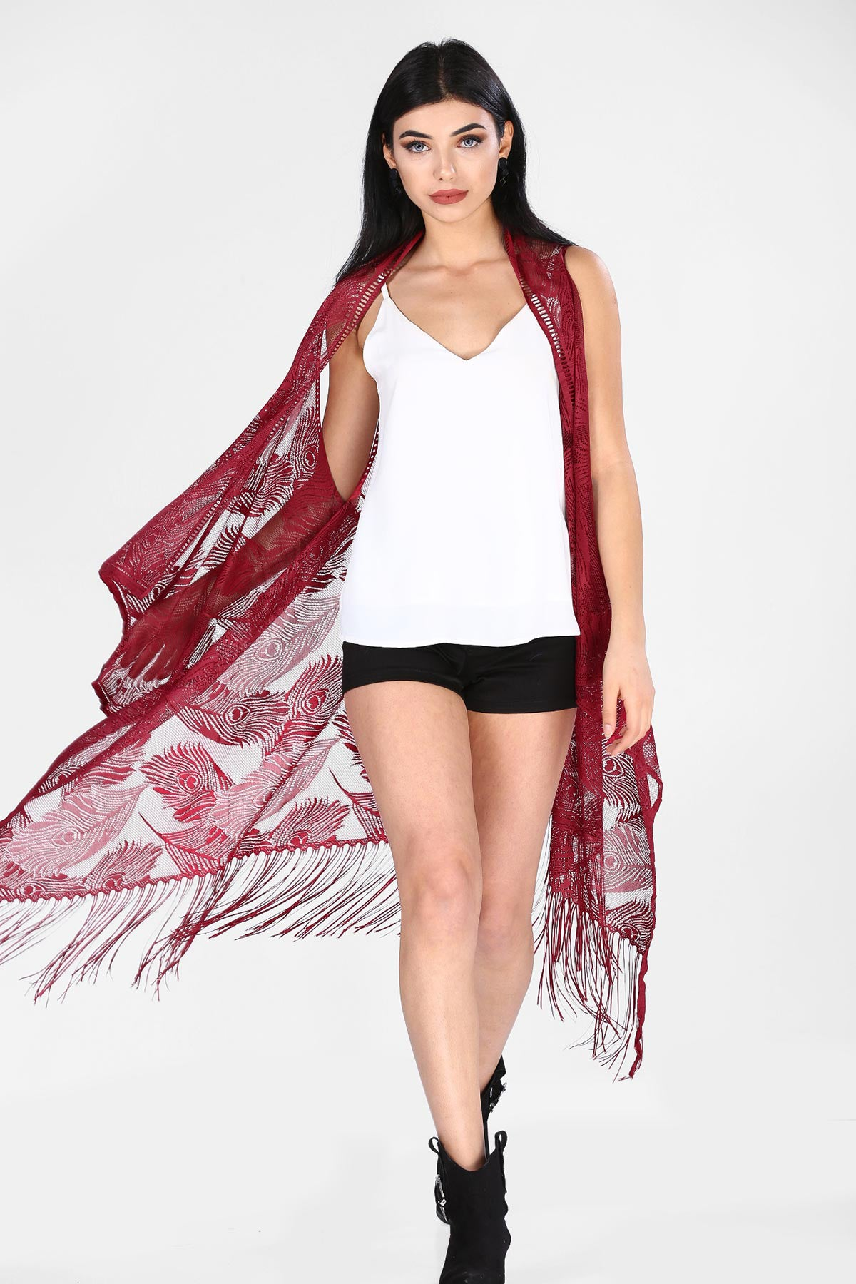 Women's Fringe Claret Red Vest