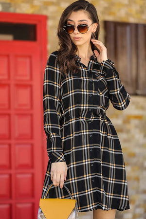 Women's Short Patterned Black Dress