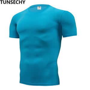 TUNSECHY Clothing Men Tshirts Fitness For Male compression tight Short Sleeve T-shirt